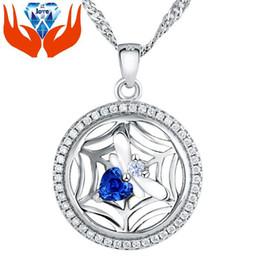 Collana imitazione zaffiro online-Ciondolo in argento sterling 925 genuino con diamante imitato intarsiato micro D-332 raccolta ragno originale zaffiro collana