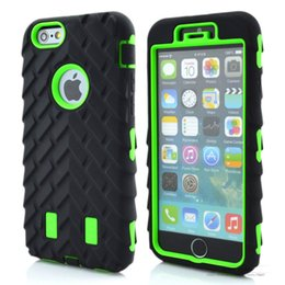 Wholesale Defender Iphone5 - Luxury Tire Dual Layer Defender Case Soft Silicone TPU + Hard Plastic 3 in 1 Heavy Duty Armor Hybrid Cover For iPhone5 5S 6 6s 6s plus 7plus