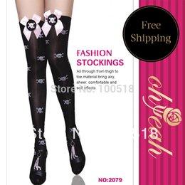 Wholesale Black White Dot Socks - Wholesale-Price promotions super deal tighs new style high quality knee socks women brand new bow white skull dots black high socks 2079