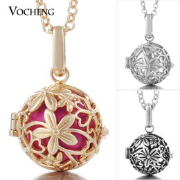 Wholesale Stainless Ball Chains - VOCHENG Caller Harmony Necklace Angel Ball Jewelry Flower Musical Bell with Stainless Steel Chain VA-066