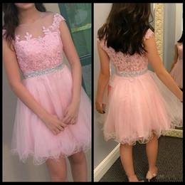 2019 vestido corto de min Barato Pretty Pink Min Short Homecoming Vestidos Cremallera Volver Apliques A Line Tulle Satin Vestidos de cóctel formales Vestidos de baile vestido corto de min baratos