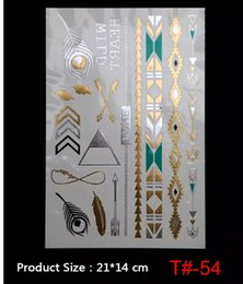 Wholesale Tattoo Flash Free Shipping - NEW ARRIVAL DIY Flash Tattoos Gold Silver Temporary Tattoos Gold necklace Feather Tattoo Wholesale free shipping
