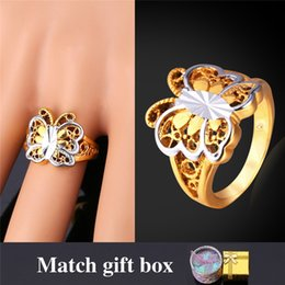 Wholesale Gold Plated Butterfly - U7 Cute Butterfly Engagement Gold Ring 18K Real Gold Platinum Plated New Fashion Jewelry Perfect Birthday Gift for Women R916