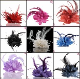Wholesale Chinese Bridal Headdress - Multi Use Elegant Wedding Supplies Groom Bridal Universal Corsage With Feather Bead String Women Party Wrist Flower and Headdress Jewelry