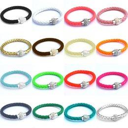 Wholesale Shamballa Bracelets Valentines Day - 20 olors PU Leather Bracelet CZ Disco Crystal Shamballa Bracelet Magnetic Clasp Bracelets Wristband women DIY jewely valentine gift 160824