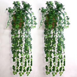 Wholesale Hanging Baskets Flowering Vines - Wholesale-Hot Selling Artificial Ivy Leaf Garland Plants Vine Fake Foliage Flowers Home Decor holiday decorations now