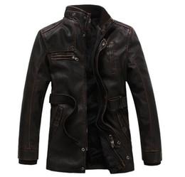 Wholesale Coat Buttons Sewing - Leather Jacket Men Coats 3XL Brand High Quality PU Outerwear Men Business Winter Faux Fur Male Jacket Fleece EDA113