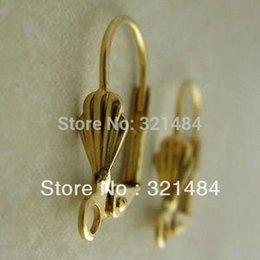 Wholesale Leverback Wires - Wholesale!!! 1000pcs Gold plated with shell design French Earwire Leverback Earring Hook Wires Findings Accessoreis