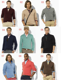 Wholesale Men S V Neck Cardigan - Wholesale-new arrival cardigan v neck polo sweater, men cotton casual coat, fashion brand knitted sweater half zipper jumper