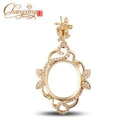 Wholesale Diamond Semi Mounts Pendants - Wholesale-13x15mm Oval Cut 14k Gold 0.37ct Diamond Engagement Semi Mount Pendant Resizable