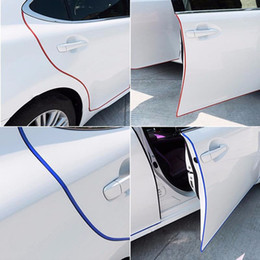 Wholesale Door Guards Black - Car Anti Collision Side Door Edge Guard Rubber Bumper Protection Sticker Strip 5m Styling Mouldings Auto door decorative strip