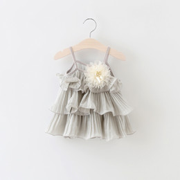 Wholesale New Wave Clothing - Wholesale- 2016 summer new arrived flower girls tutu dress baby clothes solid wave cupcake dress infants girl clothes cute newborn dresses