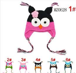 Wholesale Owl Hat Cotton - 100pcs lot OWL Crochet Baby Hat Children Hat @K1 Stripes Beanie With Ear OWL Caps 3 Sizes Crochet Cap