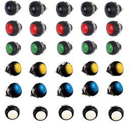 Interruptor de botão momentâneo vermelho on-line-100% brandnew 30pcs preto vermelho verde amarelo branco azul12mm interruptor de botão de pressão momentânea impermeável de vendas