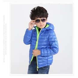Wholesale down feather clothing - 2016 Solid Children Down Jacket Hoodies boy Coat Kids Parkas Boys Cotton-padded jacket 5-8Years Children's Winter Clothes