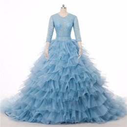 Wholesale Wedding Dress Colored Beading - 2016 Luxury Light Blue Wedding Dress Real Photo Stunning Colored Chapel Train Bridal Gowns Ball 3 4 Long Sleeve Tiered Blue Wedding Gowns