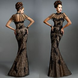 Wholesale janique prom - Dresses Evening Wear Janique Applique Lace High Neck Short Sleeves Mermaid Evening Gowns Floor-Length Beaded Satin Black Prom Dresses
