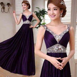 Wholesale Evening Dress Stock - Cheap 2016 Formal Bridesmaids Dresses Crystals Beaded Evening Dress Long In Stock Prom Party Gowns Lace up Free Shipping J1222