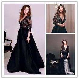 2019 encaje noble Noble Black Illusion 3/4 mangas largas de satén de encaje vestidos de noche 2016 Escote escote una línea larga formal vestido de fiesta árabe Vestidos BA1311 rebajas encaje noble
