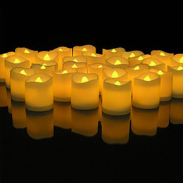 Wholesale Electric Candle Christmas - Lumiparty 48pcs Yellow Flicker Led Candles Plastic Electric Candles Flameless Tea Lights For Christmas Wedding Decoration