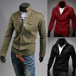 Wholesale Military Style Jacket Men Green - Top Sale! NEW 2014 Fashion Mens High Quality Canvas Short Style Casual College Varsity Jacket For Men Motorcycle Military Jacket