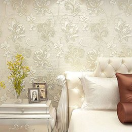 Wholesale Embossed Silk Fabric - Luxury Italian Silk Fabrics vintage 3D floral Wall Paper papel de parede Light Color Flower Wallpapers for bedroom Home Decor