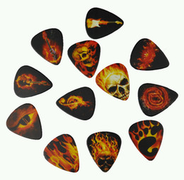 Wholesale Guitar Pick Skull - Lots of 12 Pcs Medium 0.71mm 2 sides Printing Guitar Picks Plectrums Fire And Skull Rock Style