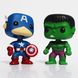 "Wholesale Avengers Props - FUNKO POP Avengers Captain America Hulk Iron man PVC Action Figure Collection Toy Doll 4"" 10CM Free shipping"