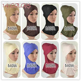 Wholesale Hijab Inner - Wholesale-Full Cross Inner Muslim Hijab Cap Women Viscose Jersey Plain Soild Hijab Underscarf Islamic Head Wear Hat Bonnet Tubes Wraps