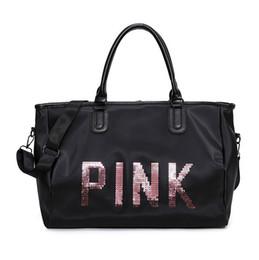 Wholesale cloth duffel bags - Fashion Casual Oxford Cloth travel Bag Pink Sequin Letter Women Waterproof Handbag Large Capacity Waterproof Luggage Bag Folding Duffel Bags