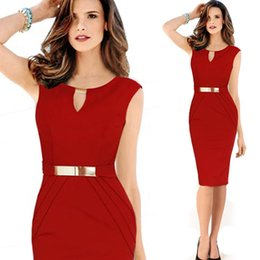 Wholesale Bodycon Small - 2015 Women dress Europe and America Slim small V-neck sleeveless bodycon dress clothing women black Red Knee-length Slim Pencil Party Dress