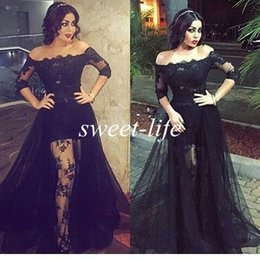 Wholesale Tulle Over Chiffon Dresses - Black Lace Prom Dresses Off the Shoulder High Low See Through with Sleeves Over Skirt Tulle 2016 Sexy Evening Gowns Party Celebrity Dresses