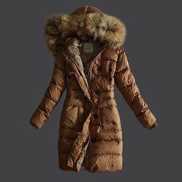 Wholesale Women S Silk Velvet Jackets - winter long down jacket women High quality white duck feather coat jacket outerwear jackets women long warm parka for women