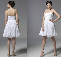 Wholesale Elegant Sexy Sweetheart Mini Dress - Cheap Lace Wedding Dinner Dress 2016 Eiffelbride with Sexy Sweetheart Elegant A Line Above Knee-Length Stunning White Bridesmaid Dresses
