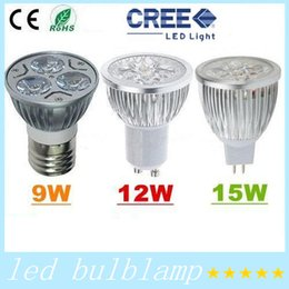 Wholesale Spotlight Socket - 9w 12W 15W Bulb Lights GU10 E27 E26 E14 MR16 Socket Led Lamp power led spotlights Warm Pure Cool white High Quality
