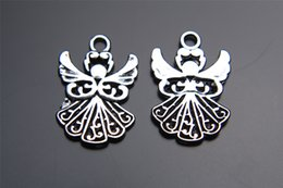 Wholesale Wholesale Goddess Jewelry - Top Sale 200pieces 20mm Angel goddess Charms Bead Spacer connector Pendant 7200 925 Tibet Silver DIY Jewelry Beads Europe Bracelet Necklace