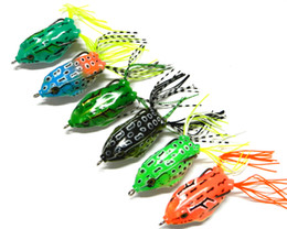 Wholesale Plastic Frog Fishing Lure - 6 Colors 20pcs Soft Forg Lure (FO003) 55mm frog fishing lures plastic Fishing tackle 5.5CM 12.5G Chicken hook free shipping