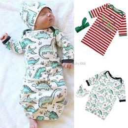 Wholesale Dinosaur Hats - Christmas Infant stripe Sleeping Bags Baby letter Swaddling Newborn Cotton dinosaur printing Blanket With Headband or hat 2pcs set C3162