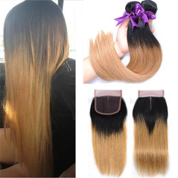 Wholesale Cheap Blonde Hair Extensions Dark - T1B 27 Dark Root Honey Blonde Straight Ombre Human Hair Weave 3 Bundles with 4x4 Lace Closure Cheap Colored Brazilian Virgin Hair Extension