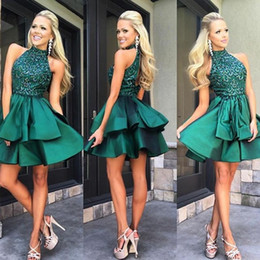 Wholesale Elegant Vintage Cocktail Dress - Cute Green Halter Homecoming Dresses Beaded Elegant Satin Custom Made Sexy Cocktail Evening Prom Party Dresses