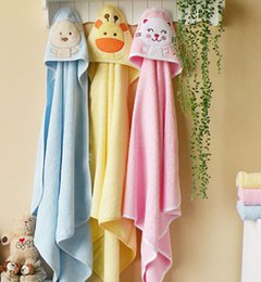 Wholesale Bath Drops - 76*76cm Children's Embroidery 100% Cotton Bathrobe Infants Towels Baby Kids Bath Towel Drop Shipping Free Shipping High Quality