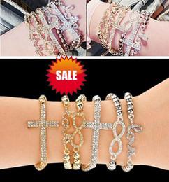 bracelets élastiques en diamant Promotion Élastique amour croix bracelet en perles de diamant nouvelles femmes perles en alliage charme bracelets bracelet corde bracelet bracelet manchette bijoux or argenté cadeau