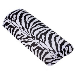 Wholesale Zebra Stripe Cushions - Wholesale-WSFS Hot Black With White Zebra Stripe Hand Rest Soft Cushion Pillow Nail Art Design Manicure Half Column