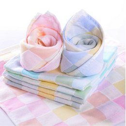 Wholesale Bright Babies - Wholesale- NEW Soft Comfortable Bibs Cotton Double Gauze Checkered Towel Baby Daily Dedicated Feeding Face Bright Colors Small Square Wash