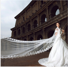 Wholesale Long Lace Veil Wedding - Wedding Veil 5 Meters Long Bridal Head Veils Top Quality Cathedral Veil Ivory   White Color Lace Women Wedding Accessories