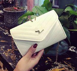 Wholesale Women Handbags Clutches Colors - 2017 Women Clutch Chain Bag Shoulder Messenger Bag Clutch With Chain Wrist Bag Handbag black white Colors