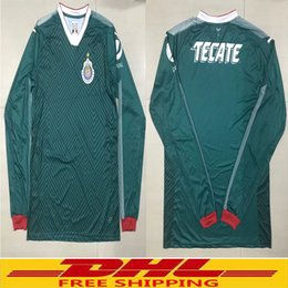 Wholesale Wholesale Jersey S America - In stock DHL free shipping 2017 2018 Mexico Chivas de Guadalajara Long Sleeve Rugby Jerseys 17 18 Club America Home Red White Full sleeve