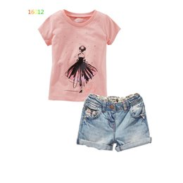 Wholesale Kids Denim Print Shorts - Kids Little girl printing photo dot denim Suit 2016 new children cartoon Short sleeve T-shirt +denim shorts 2 pcs Suit B001