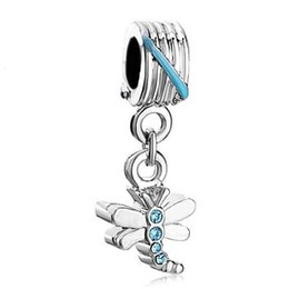 Wholesale Blue Dragonfly Charms - Shenzhen factory dragonfly with blue crystal pendant dangle metal slide bead European spacer charm fit Pandora Chamilia Biagi charm bracelet