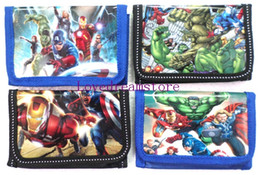 Wholesale Party Favor Purses - NEW hot sell !! 36 pcs Marvel's The Avengers Children Tri-fold Fashion wallets purses bags with zip   XMAS gifts  party favor